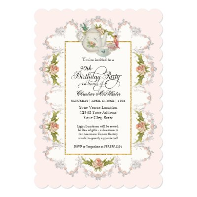 Sweet Teacup Pink Floral Bridal Shower Invitation – Fairy Tea Party Invitations