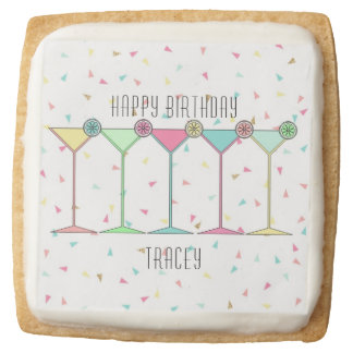 Birthday Favors Cookies, Cocktail Themed Square Shortbread Cookie