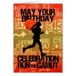 Birthday Female Runner Sport Theme Card