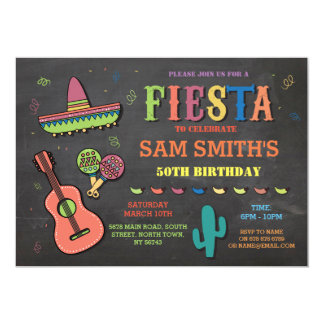 Birthday Fiesta Mexico Mexican Hat Party Invite