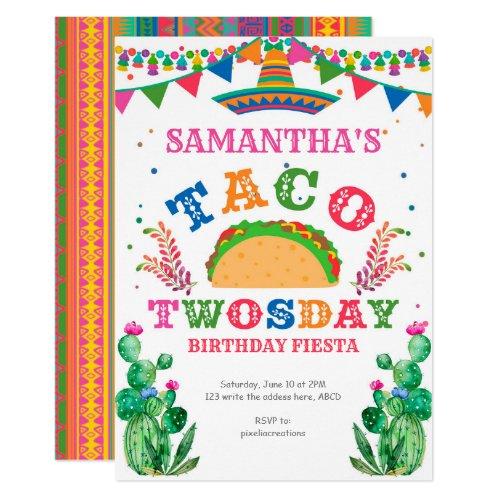 Birthday Fiesta Taco Twosday 2nd birthday Invitation