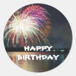 BIRTHDAY: Fireworks at the Lake Celebration Classic Round Sticker