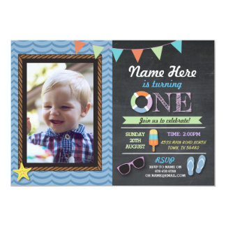 Birthday First Photo Lolly Pool Party Invite