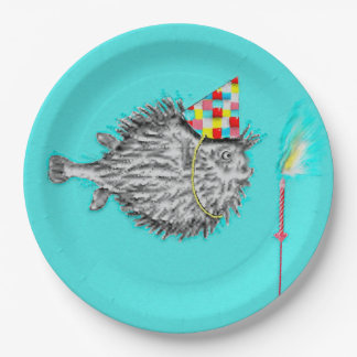 birthday fish-themed party paper plate