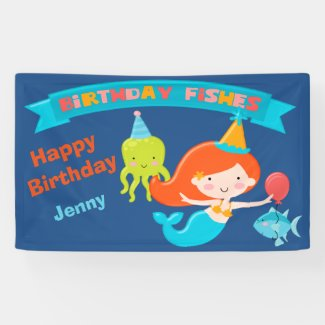 Birthday Fishes Mermaid Personalized Banner
