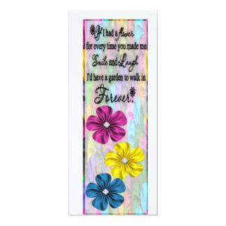 Birthday Floral Bookmark 4x9.25 Paper Invitation Card