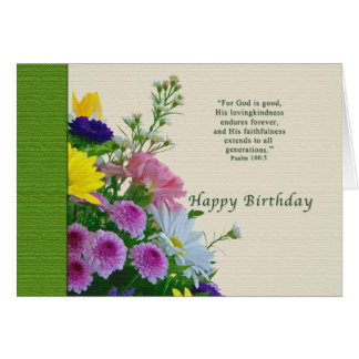 Birthday, Floral Bouquet, Religious Card