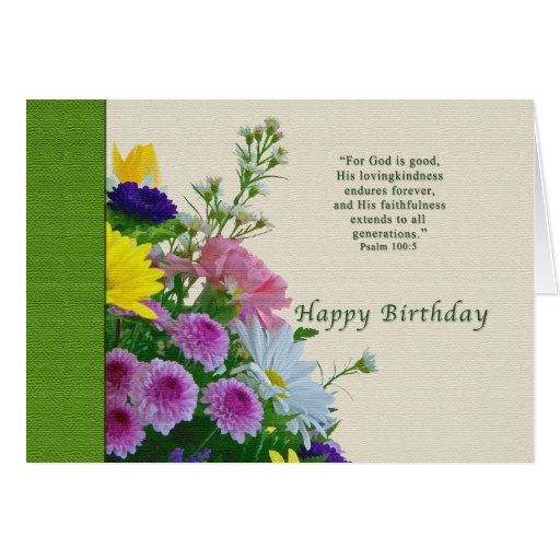 Birthday, Floral Bouquet, Religious Greeting Card