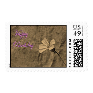 Birthday Flower and Stone in Sepia Stamp