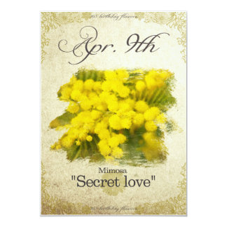 """Birthday flowers on April 9th """"Mimosa"""" Card"""