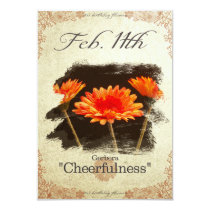 "Birthday flowers on February 11th ""Gerbera"" Card"