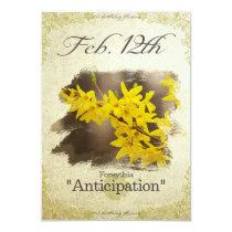 "Birthday flowers on February 12th ""Forsythia"" Card"