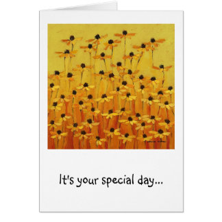 birthday flowers yellow and happy card