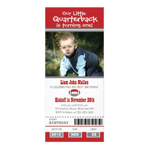 Birthday Football Ticket Personalized Invites