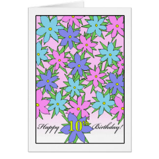 Birthday for 10 Year Old Girl, Pastel Flowers Card
