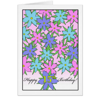Birthday for 15 Year Old Girl, Pastel Flowers Card