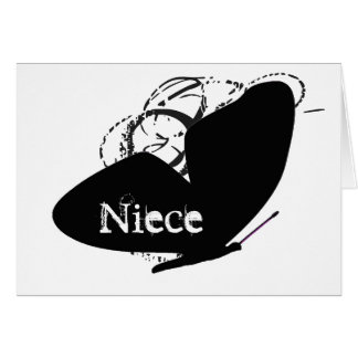 Birthday for a niece, big, black butterfly, text. greeting card