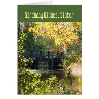 Birthday, for a sister, bridge over lake. card