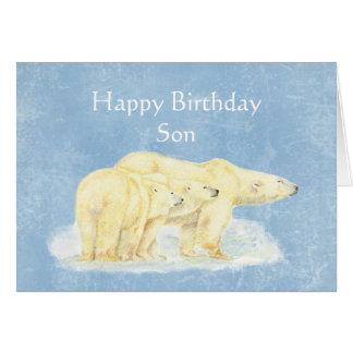 Birthday for Beary Special Son Polar Bears Card
