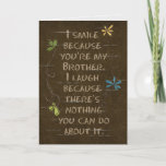 """Birthday for Brother humor-floral glitter Card<br><div class=""""desc"""">glitter flowers on cracked brown textured background for Brother&#39;s birthday</div>"""