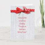 """Birthday for Daughter Card<br><div class=""""desc"""">Polka dot bow and flower on rustic barn wood for daughter's birthday.</div>"""