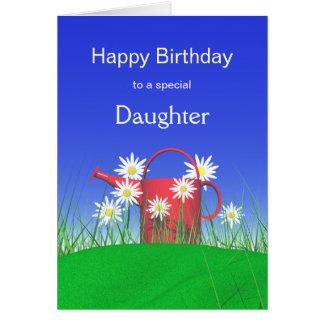 Birthday for Daughter Daisies and Watering Can Greeting Card