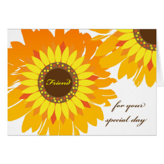 Birthday for Friend, Bright Sunflowers Card