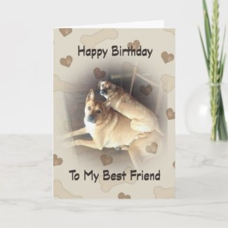 Birthday For Friend With Two Mixed Breed Dogs Card