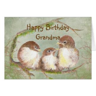 Birthday for Grandma Cute Sparrow Bird Family Card