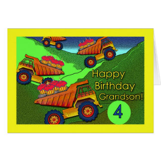 Birthday for Grandson, Dump Trucks and Cupcakes Cards