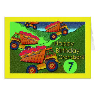 Birthday for Grandson Dump Trucks and Cupcakes Greeting Cards