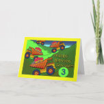 """Birthday for Grandson, Dump Trucks and Cupcakes Card<br><div class=""""desc"""">Colorful dump trucks with cupcakes are ready to pile it on for a grandson"""