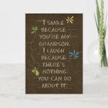 "Birthday for Grandson-floral glitter on brown Card<br><div class=""desc"">glitter flowers on cracked brown textured background for Grandson's birthday</div>"