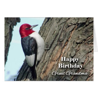 Birthday for Great Grandma, Red-headed Woodpecker Card
