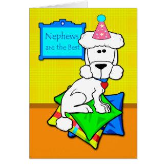 Birthday for Nephew, White Poodle on Pillows Card