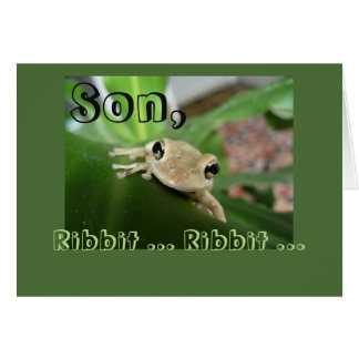Birthday for son, cute smiling frog. card