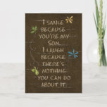 """Birthday for Son-floral glitter on brown Card<br><div class=""""desc"""">glitter flowers on cracked brown textured background for Son's birthday</div>"""