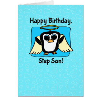 Birthday for Step Son - Little Angel Penguin Card