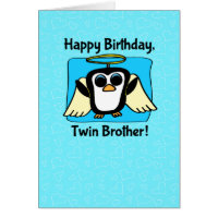Birthday for Twin Brother - Little Angel Penguin Greeting Card