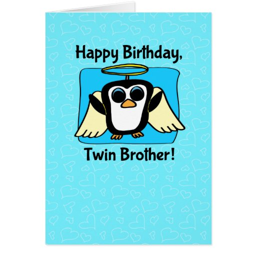 Birthday for Twin Brother - Little Angel Penguin Greeting Card ...