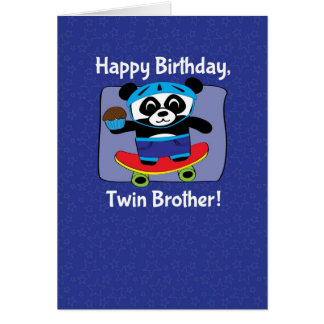 Birthday for Twin Brother - Panda on Skateboard Card