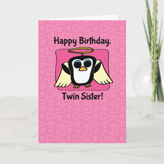 Birthday For Twin Sister Little Angel Penguin Card Zazzle