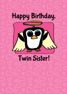Twin sister birthday cards greeting photo cards zazzle birthday for twin sister little angel penguin card bookmarktalkfo Gallery