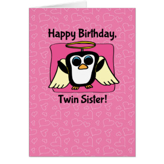 Birthday for Twin Sister - Little Angel Penguin Card