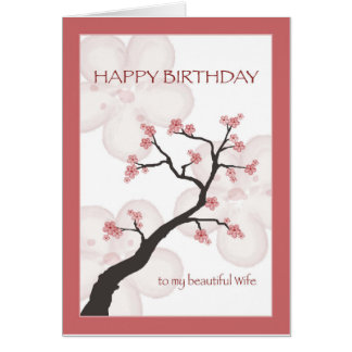 Birthday for Wife, Chinese Blossom Tree Card
