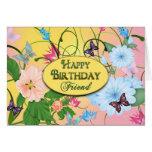 BIRTHDAY - FRIEND - BUTTERFLIES/FLOWERS CARDS