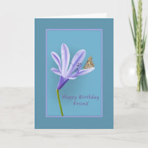 Birthday, Friend, Daylily Flower and Butterfly Card