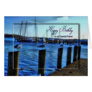 BIRTHDAY- FRIEND - MARINA/SEAGULLS/WATER GREETING CARD