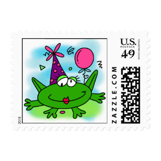 Birthday Frog Postage Stamps