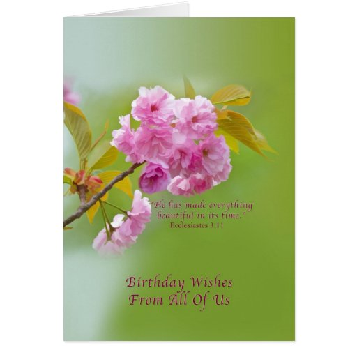 Birthday, From All of Us, Cherry Blossoms Greeting Card
